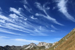 Macedonian cirrus clouds. Cirrus clouds over the Mount Korab, Macedonia royalty free stock images