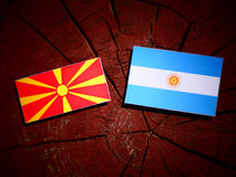 Macedonian flag with Argentinian flag on a tree stump. Macedonian flag with Argentinian flag on a tree stump Stock Photos