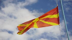 Macedonian flag on blue sky stock footage