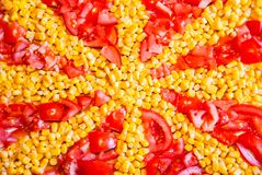 Macedonian flag from food. Macedonian flag made from vegetables Royalty Free Stock Images