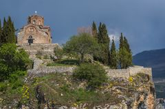 Jovan Kaneo Church on the shore of Lake Ohrid royalty free stock image