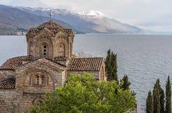 Jovan Kaneo Church on the shore of Lake Ohrid stock photo