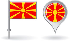 Macedonian pin icon and map pointer flag. Vector Stock Photo