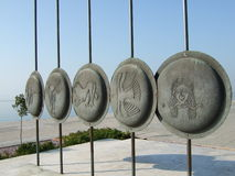 Macedonian shield. Old macedonian shields in thessaloniki - greece Royalty Free Stock Images
