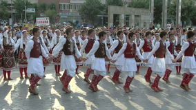Macedonian traditional dance at the International Folklore Festival stock footage
