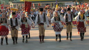 Macedonian traditional dance at the International Folklore Festival stock video
