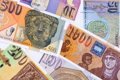 Macedonisch geld, een achtergrond stock afbeeldingen