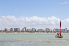 Maceio, Brasil - setembro, 04 2017 Praia de Pajucara, turistas Ta Fotografia de Stock Royalty Free