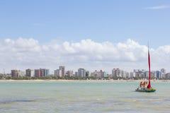 Maceio Brazylia, Wrzesień, -, 04 2017 Pajucara plaża, turyści ta Fotografia Royalty Free