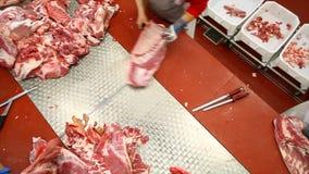 Macellaio che scolpisce le carcasse di maiale sul taglio della tavola archivi video