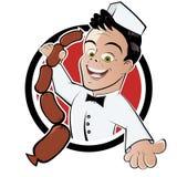 Macellaio con le salsiccie Immagini Stock