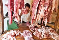 Macellaio della persona di origine cinese, Gorontalo, Indonesia Fotografia Stock Libera da Diritti