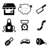 Macellaio Shop Icons Fotografia Stock Libera da Diritti