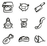 Macellaio Shop Icons Freehand Fotografia Stock Libera da Diritti