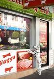 Macellaio Shop Window del cane Immagini Stock