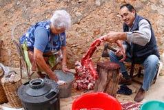 Macello tradizionale rurale Fotografie Stock