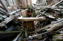 Macerie e le rovine della casa distrutta dal earthqu potente Fotografia Stock Libera da Diritti