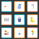 Maceta plana de los iconos, hacha, rastrillo y otros elementos del vector Sistema de iconos planos de la horticultura Imagenes de archivo