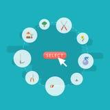 Maceta plana de los iconos, tijeras, rastrillo y otros elementos del vector El sistema de símbolos planos de los iconos de la agr libre illustration
