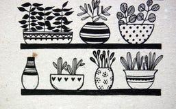 Macetas con las plantas ilustración del vector