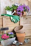 Macetas y accesorios que cultivan un huerto Foto de archivo libre de regalías