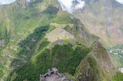 MACH PICCHU, CUSCO region, PERU CZERWIEC 4, 2013: Panoramiczny widok Machu Picchu góry od Huayna Picchu Fotografia Royalty Free