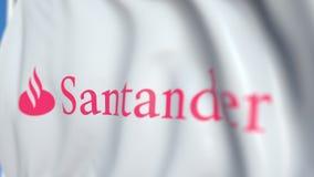 Machać flagę z Banco Santander S A logo, w górę Redakcyjna loopable 3D animacja ilustracja wektor