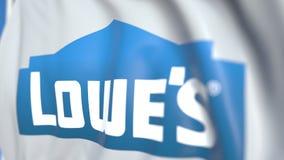 Machać flagę z Lowe firmami, Inc logo, w górę Redakcyjna loopable 3D animacja ilustracja wektor