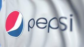 Machać flagę z Pepsi logo, w górę Redakcyjna loopable 3D animacja ilustracja wektor