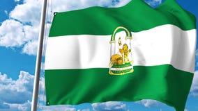 Machać flaga Andalusia, autonomiczna społeczność w Hiszpania świadczenia 3 d Zdjęcia Stock