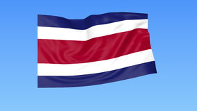 Machać flaga Costa Rica, bezszwowa pętla Dokładny rozmiar, błękitny tło Część wszystkie kraje ustawiający 4K ProRes z alfą ilustracja wektor