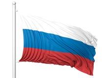Machać flaga Rosja na flagpole Obrazy Stock