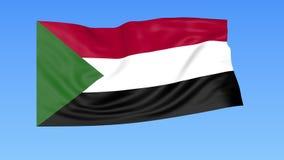 Machać flaga Sudan, bezszwowa pętla Dokładny rozmiar, błękitny tło Część wszystkie kraje ustawiający 4K ProRes z alfą royalty ilustracja