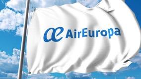 Machać flaga z Air Europa logem świadczenia 3 d Zdjęcia Royalty Free