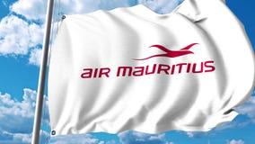 Machać flaga z Air Mauritius logem świadczenia 3 d Fotografia Stock