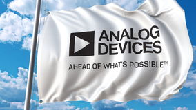 Machać flaga z Analog Devices logem Editoial 3D rendering royalty ilustracja