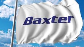 Machać flaga z Baxter International logem Editoial 3D rendering royalty ilustracja