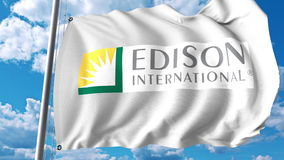 Machać flaga z Edison International logem Editoial 3D rendering ilustracja wektor