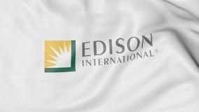 Machać flaga z Edison International logem Redakcyjny 3D rendering royalty ilustracja