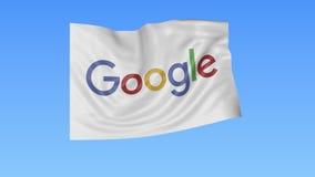 Machać flaga z Google logem, bezszwowa pętla, błękitny tło Redakcyjna animacja 4K ProRes, alfa ilustracji