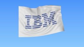 Machać flaga z IBM logem, bezszwowa pętla, błękitny tło Redakcyjna animacja 4K ProRes, alfa ilustracja wektor