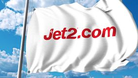 Machać flaga z Jet2 com logo 4K redakcyjna klamerka zbiory