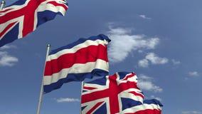 Machać flagi Costa rica i Zjednoczone Królestwo na nieba tle, loopable 3D animacja zbiory wideo