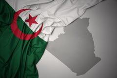Machać kolorową flaga państowowa i mapę Algeria Royalty Ilustracja
