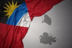 Machać kolorową flaga państowowa i mapę Antigua i Barbuda Ilustracja Wektor