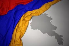 Machać kolorową flaga państowowa i mapę Armenia Zdjęcia Royalty Free