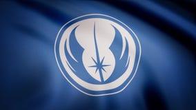 Machać w wiatrowej flaga z symbolem Jedi rozkaz Animacja flaga Jedi rozkazu symbol Gwiezdne wojny royalty ilustracja