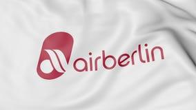 Machać flaga Air Berlin redakcyjny 3D rendering Zdjęcie Royalty Free