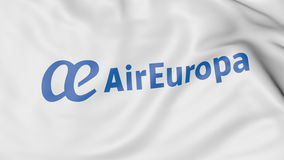 Machać flaga Air Europa redakcyjny 3D rendering Zdjęcie Stock