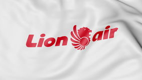 Machać flaga Lion Air redakcyjny 3D rendering Obraz Royalty Free